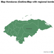 Map Honduras (Outline-Map with regional borders)