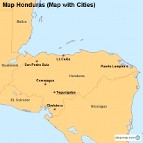 Map Honduras (Map with Cities)