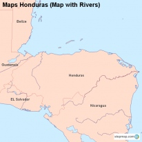 Maps Honduras (Map with Rivers)
