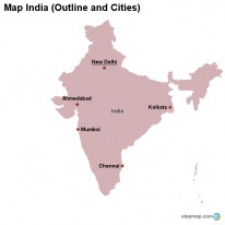 Map India (Outline and Cities)