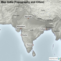 Map India (Topography and Cities)