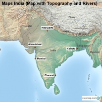 Maps India (Map with Topography and Rivers)