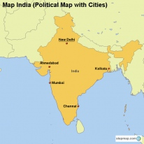 Map India (Political Map with Cities)
