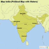 Map India (Political Map with Waters)