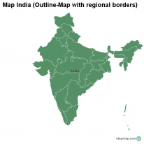Map India (Outline-Map with regional borders)