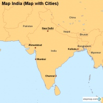 Map India (Map with Cities)