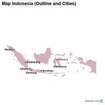 Map Indonesia (Outline and Cities)