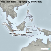 Map Indonesia (Topography and Cities)