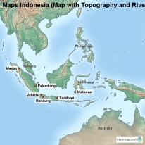 Maps Indonesia (Map with Topography and Rivers)