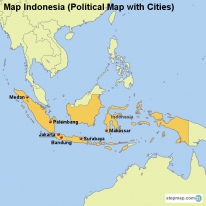 Map Indonesia (Political Map with Cities)