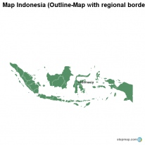Map Indonesia (Outline-Map with regional borders)