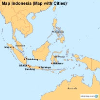 Map Indonesia (Map with Cities)