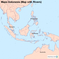 Maps Indonesia (Map with Rivers)
