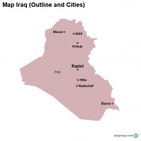 Map Iraq (Outline and Cities)