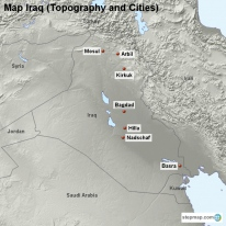 Map Iraq (Topography and Cities)