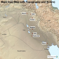 Maps Iraq (Map with Topography and Rivers)