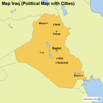 Map Iraq (Political Map with Cities)