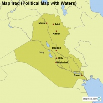 Map Iraq (Political Map with Waters)