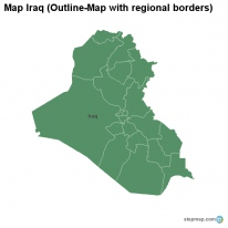 Map Iraq (Outline-Map with regional borders)