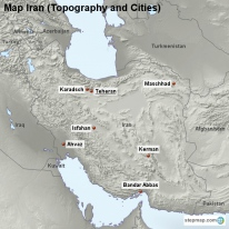 Map Iran (Topography and Cities)