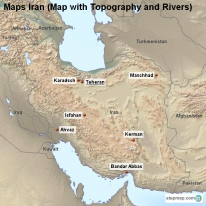 Maps Iran (Map with Topography and Rivers)