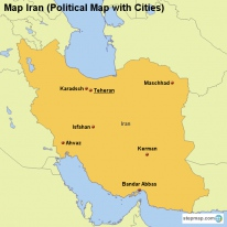 Map Iran (Political Map with Cities)