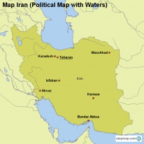 Map Iran (Political Map with Waters)