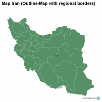 Map Iran (Outline-Map with regional borders)