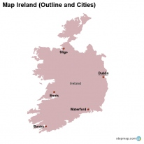 Map Ireland (Outline and Cities)