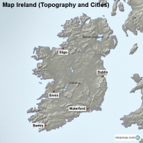 Map Ireland (Topography and Cities)