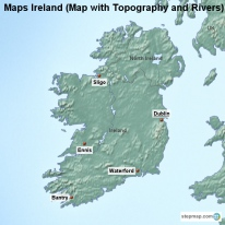 Maps Ireland (Map with Topography and Rivers)