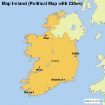 Map Ireland (Political Map with Cities)