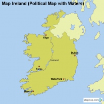 Map Ireland (Political Map with Waters)