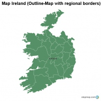 Map Ireland (Outline-Map with regional borders)
