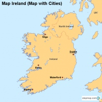 Map Ireland (Map with Cities)