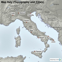 Map Italy (Topography and Cities)