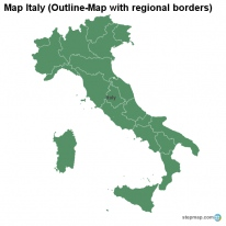 Map Italy (Outline-Map with regional borders)