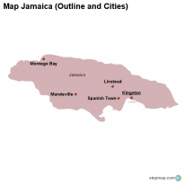 Map Jamaica (Outline and Cities)