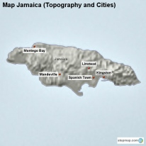 Map Jamaica (Topography and Cities)