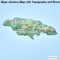 Maps Jamaica (Map with Topography and Rivers)