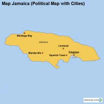 Map Jamaica (Political Map with Cities)