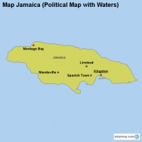 Map Jamaica (Political Map with Waters)