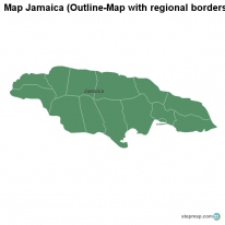 Map Jamaica (Outline-Map with regional borders)