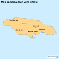 Map Jamaica (Map with Cities)