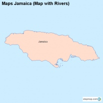 Maps Jamaica (Map with Rivers)
