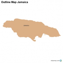 Outline Map Jamaica