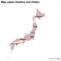 Map Japan (Outline and Cities)