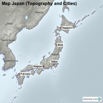 Map Japan (Topography and Cities)