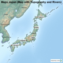 Maps Japan (Map with Topography and Rivers)