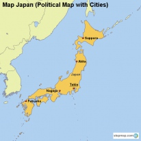 Map Japan (Political Map with Cities)